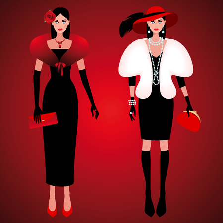 hat with feather: Set of cute fashionable girls on the evening of luxury glamor clothes. The stylish little black dress, hat, feather, clutch bag, pearls. Vector illustration of people isolated on red background.