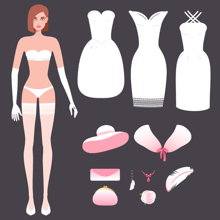 couturier: Sweet girl in underwear and set wedding dresses, evening dresses, hat, clutch bag, rose flower, fur cape, jewelry. Vector illustration constructor different images on theme of wedding fashion couture. Illustration