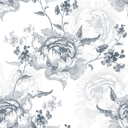 Roses. Vector seamless floral pattern. Garden flower rose. Flower Illustration - template design luxury packaging, textile, paper. Branch, leaves, flowers on white background. Black and white. Vettoriali