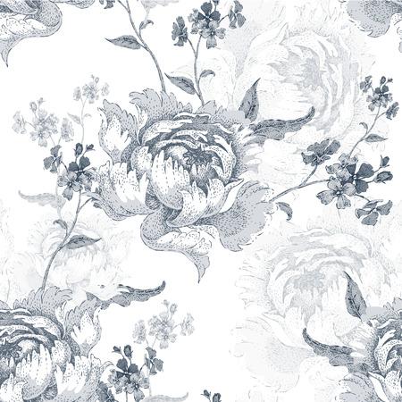 Roses. Vector seamless floral pattern. Garden flower rose. Flower Illustration - template design luxury packaging, textile, paper. Branch, leaves, flowers on white background. Black and white. Illustration