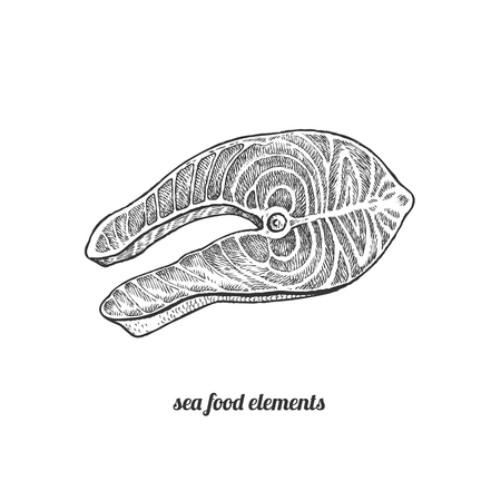 salmon steak: Salmon. Seafood. Vector illustration. Isolated image on white background. Vintage style. Hand drawn seafood image.