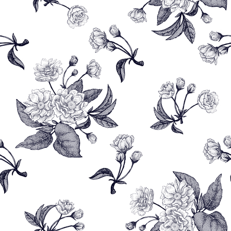 sprigs: Black and white vector background with flower Chinese plum. Floral pattern with leaves, flowers and branches of the tree Chinese plum. Design paper, wallpaper and fabrics. National Chinese plant.