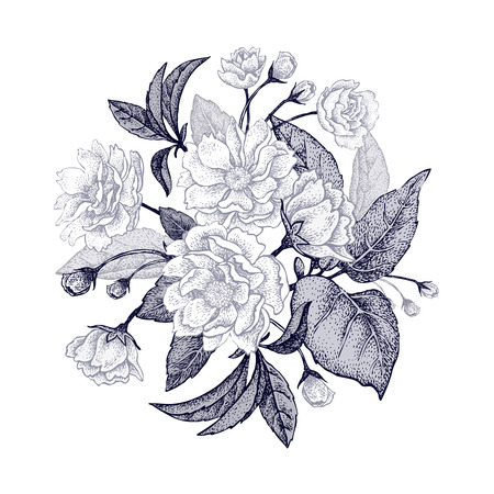 Black and white card with bouquet of the Chinese plum tree branches. The national flower of China. Space for text. Vintage style graphics. Ilustracja