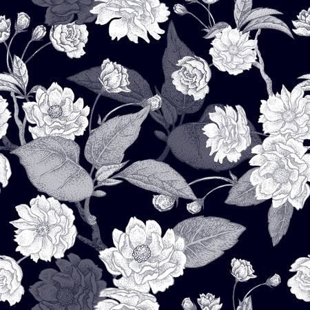 national plant: Black and white vector background with flower Chinese plum. Floral pattern with leaves, flowers and branches of the tree Chinese plum. Design paper, wallpaper and fabrics. National Chinese plant.