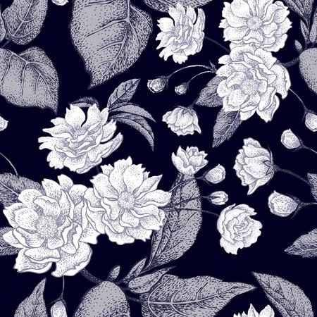 flores chinas: vector de fondo blanco y negro con la flor del ciruelo chino. Modelo floral con las hojas, las flores y las ramas del árbol de ciruela china. Diseño de papel, papeles pintados y telas. planta china nacional.