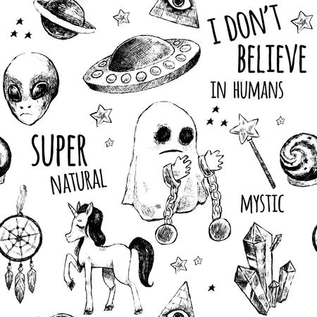 girl magic wand: Seamless black and white pattern. Flying saucer, alien, ghost, unicorn, Dreamcatcher, a crystal ball, magic wand, Illuminati, girl. Vector illustration. Mystery, unusual, supernatural.