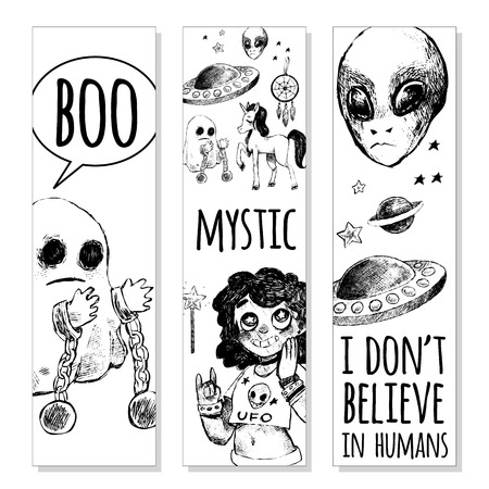 black magic: Set of bookmarks. Flying saucer, alien, ghost, unicorn, Dreamcatcher, crystal ball, magic wand, girl. Vector illustration sketch style. Mystery, strange, unusual, supernatural. Black and white.