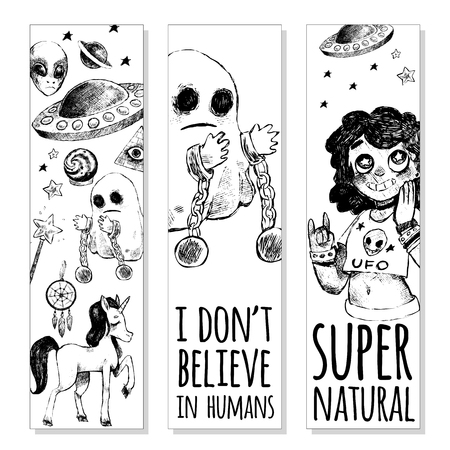 supernatural: Set of bookmarks. Flying saucer, alien, ghost, unicorn, Dreamcatcher, crystal ball, magic wand, girl. Vector illustration sketch style. Mystery, strange, unusual, supernatural. Black and white.