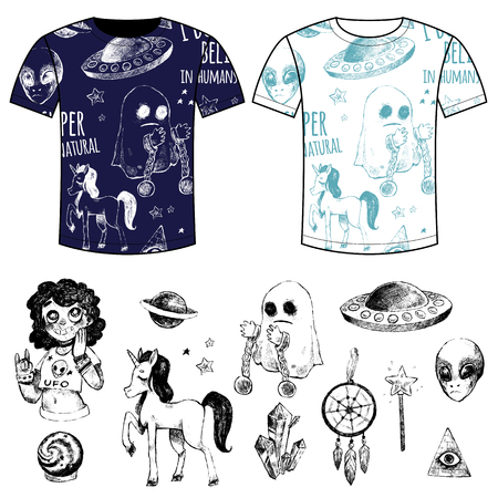 supernatural: Flying saucer, alien, ghost, unicorn, Dreamcatcher, crystal ball, magic wand, girl, couple T-shirts with printing. Set vector illustrations, sketches, doodles. Supernatural and magic. Black and white. Illustration