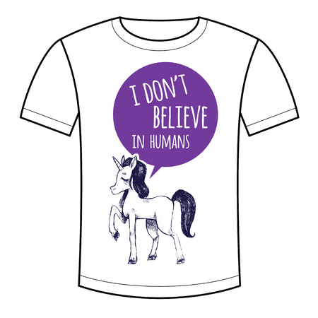 funny pictures: Vector illustration of a mystical unicorn animal and the phrase I dont believe in humans. Funny pictures for printing on T-shirts, bags, backpacks, childrens clothes. Black and white. Illustration