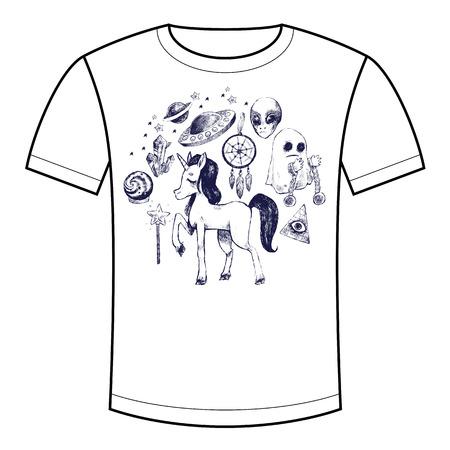 platillo volador: ilustraci�n vectorial conjunto de m�stica y sobrenatural unicornio s�mbolo, fantasma, platillo volante, extranjero. La imagen de impreso en las camisetas, bolsos, mochilas, ropa para ni�os. bosquejo blanco y negro.