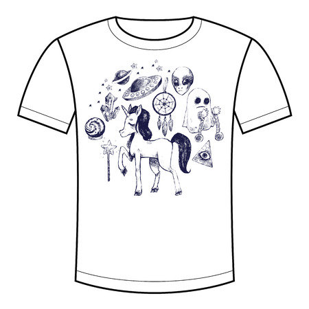 supernatural: Vector illustration set of mystical and supernatural symbol unicorn, ghost, flying saucer, alien. The picture for printed on T-shirts, bags, backpacks, childrens clothes. Black and white sketch.