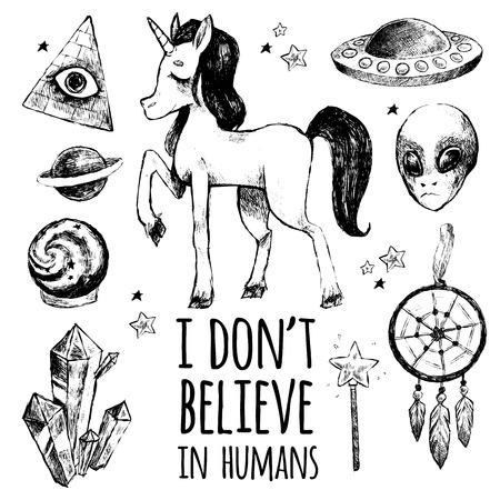 illuminati: Vector illustration of unusual mystical motifs. Black Art objects isolated on white background. Abstract image of flying saucer, alien, unicorn, dreamcatcher, magic crystal, magic wand, Illuminati.