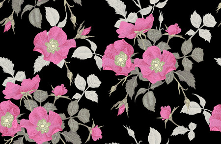 Vintage floral seamless background with blooming roses. Vector pattern. Illustration for use in interior design, artwork, dishes, clothing, packaging, greeting cards, store windows.