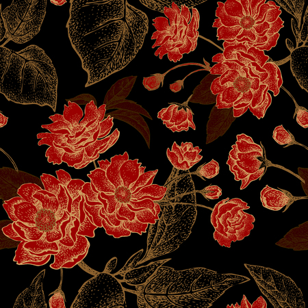 Vector seamless pattern with flower Chinese plum. Floral pattern with leaves, flowers and branches of the tree Chinese plum. Design paper, wallpaper and fabrics. Black, red, gold.