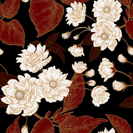flores chinas: Modelo inconsútil del vector con la flor del ciruelo chino. Modelo floral con las hojas, las flores y las ramas del árbol de ciruela china. Diseño de papel, papeles pintados y telas. Negro, rojo, blanco, oro.