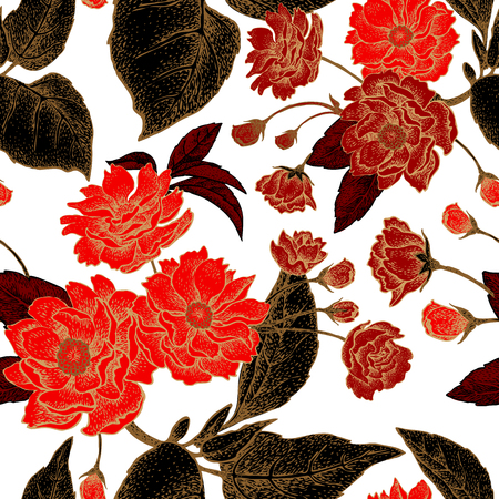 national fruit of china: Vector seamless pattern with flower Chinese plum. Floral pattern with leaves, flowers and branches of the tree Chinese plum. Design paper, wallpaper and fabrics. Black, red, white, gold. Illustration