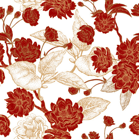 Vector seamless pattern with flower Chinese plum. Floral pattern with leaves, flowers and branches of the tree Chinese plum. Design paper, wallpaper and fabrics. Red, white, gold.