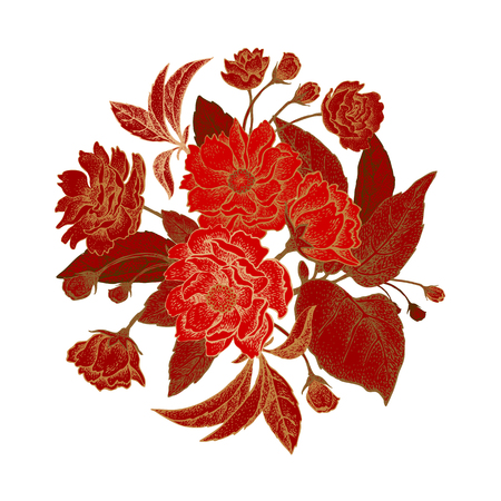 Card with isolated bouquet of the Chinese plum tree branches. The national flower of China. Vintage style graphics. Red, white, gold.
