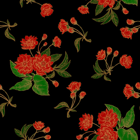 national fruit of china: Vector seamless pattern with flower Chinese plum. Floral pattern with leaves, flowers and branches of the tree Chinese plum. Design paper, wallpaper and fabrics. Black, red,  gold.