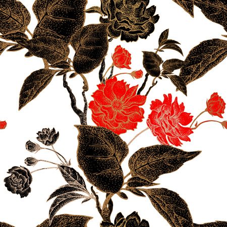 Vector seamless pattern with flower Chinese plum. Floral pattern with leaves, flowers and branches of the tree Chinese plum. Design paper, wallpaper and fabrics. Black, red, white, gold. Illustration