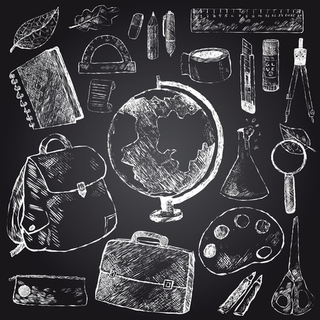 box cutter: School stationery set. Hand drawing white chalk on black background. Globe, backpack, briefcase, pencil, pen, ruler, protractor, notebook, flask, scissors, eraser, box, cutter, glue. Vector.