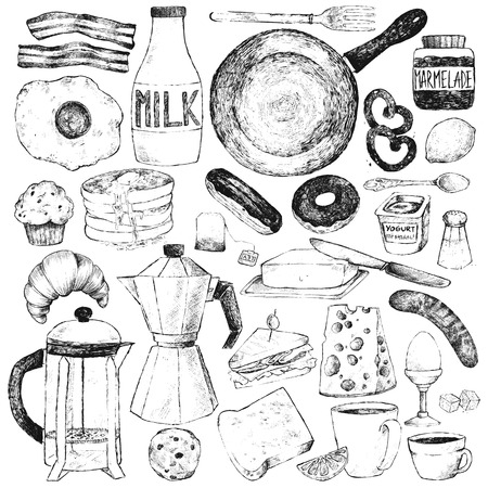 bread and butter: Frypan, kettle, coffee pot, cups, fried egg, bacon, pancakes, milk, croissant, bread, cheese, sausages, boiled egg, bread, butter, sandwich, cookies, muffin, eclair, donut, yogurt, lemon, salt, jam.