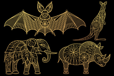 Animals. Elephant, rhinoceros, kangaroo, bat. Set of vector stylized image. Gold foil print on black background.