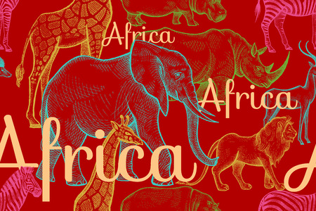 Vector seamless pattern African animals elephant, rhino, giraffe, zebra, hippo, lion, antelope, inscriptions. Hand drawing color illustration on red background. Designs for fabrics, textiles, paper.
