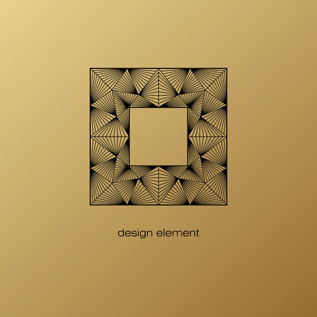 linearity: Vector design element. Template for creating   icon, symbol, emblem, monogram frame. Linear trend style. Illustration black pattern on gold background. Concept of unusual abstract luxury decor.