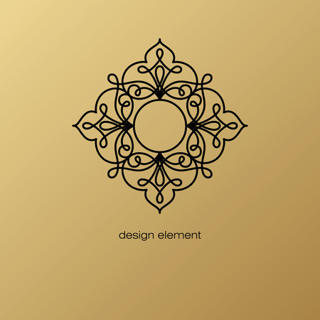 Vector design element. Template for creating  icon, symbol, emblem, monogram frame. Linear trend style. Illustration black pattern on gold background. Concept of unusual abstract luxury decor. Illustration
