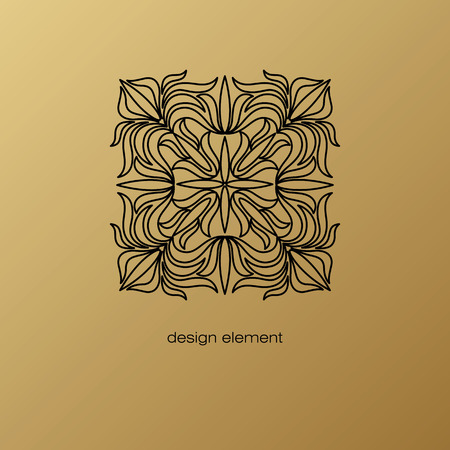 linearity: Vector design element. Template for creating  icon, symbol, emblem, monogram frame. Linear trend style. Illustration black pattern on gold background. Concept of unusual abstract luxury decor. Illustration