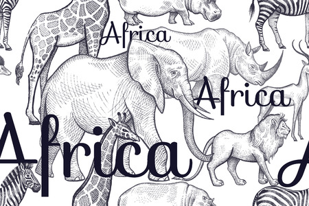behemoth: Vector seamless pattern African animals and inscriptions. Hand drawing black elephants, rhinos, giraffes, zebras, hippos, lions, antelopes on white background. Designs for fabrics, textiles, paper.
