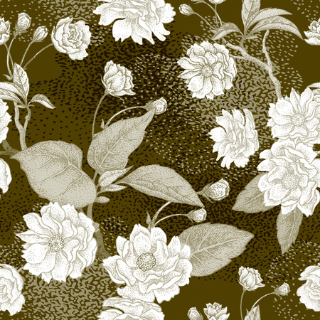 Plum flower. Seamless vector pattern.