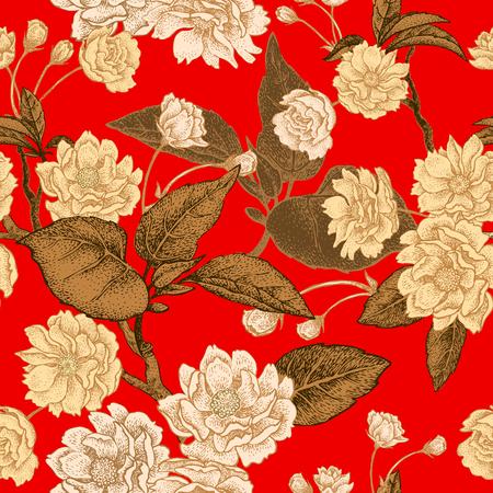 빨간색 배경에 매 화 꽃 골드입니다. 원활한 벡터 패턴입니다. 일러스트