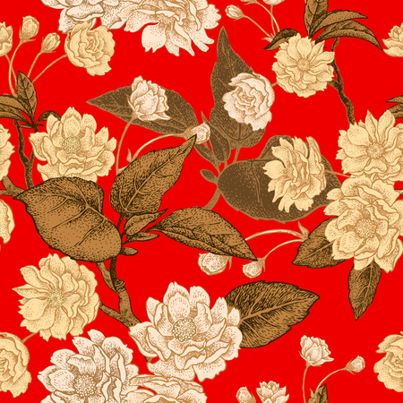 Plum flower gold on red background. Seamless vector pattern. Stock Illustratie