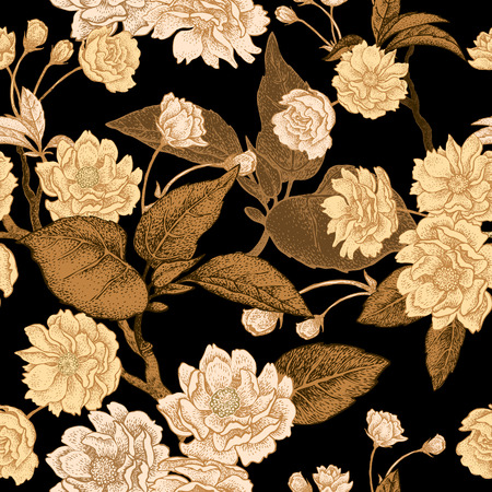 plum flower: Plum flower gold on black background. Seamless vector pattern.