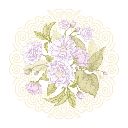 plum flower: Plum flower. Vector bouquet.