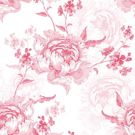 Roses. Vector seamless floral pattern. Garden flower rose. Flower Illustration - template design luxury packaging, textile, paper. Branch, leaves, flowers on white background.