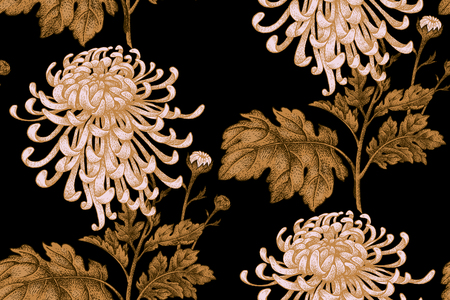 Vector seamless floral pattern. Japanese national flower chrysanthemum. Illustration luxury design, textiles, paper, wallpaper, curtains, blinds. Gold leaves, branch, white flowers, black background.