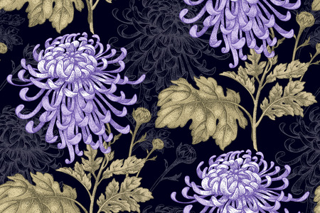 Vector seamless floral pattern. Japanese national flower chrysanthemum. Illustration luxury design, textiles, paper, wallpaper, curtains, blinds. Leaves, branch, lilac flowers on black background.