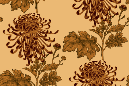Vector seamless floral pattern. Japanese national flower chrysanthemum. Illustration luxury design, textiles, paper, wallpaper, curtains, blinds. Leaves, branch, red flowers on gold background.
