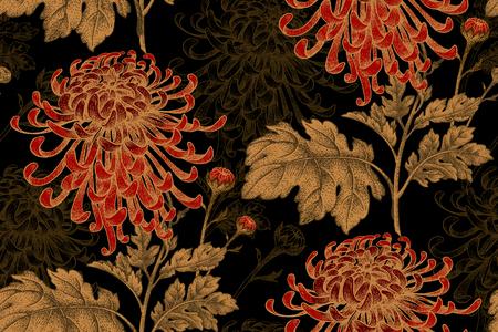 Modelo floral inconsútil del vector. Japonés crisantemo flor nacional. Ilustración de lujo de diseño, textiles, papel, papel tapiz, cortinas, persianas. Hojas de oro, flores rojas sobre fondo negro.