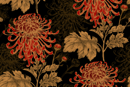 Vector seamless floral pattern. Japanese national flower chrysanthemum. Illustration luxury design, textiles, paper, wallpaper, curtains, blinds. Golden leaves, red flowers on black background. Çizim