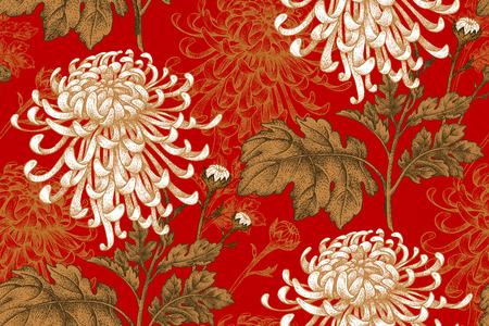 ベクターのシームレス花柄。日本の国花の菊。イラスト高級デザイン、織物、紙、壁紙、カーテン、ブラインド。黄金葉、赤の背景に白い花。