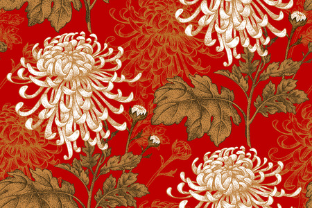 Vector seamless floral pattern. Japanese national flower chrysanthemum. Illustration luxury design, textiles, paper, wallpaper, curtains, blinds. Golden leaves, white flowers on red background.
