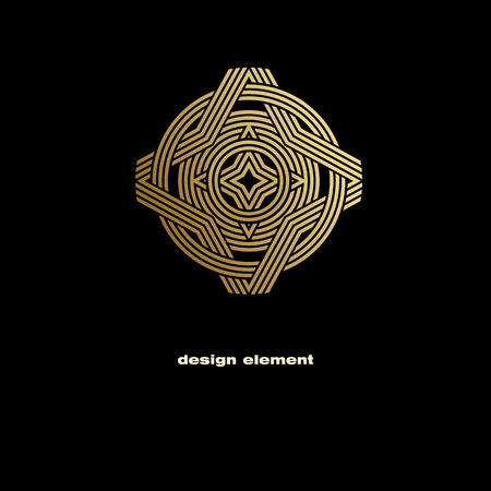 Vector design element. Template for creating   icon, symbol, emblem, monogram frame. Linear trend style. Illustration gold pattern on black background. Concept of  unusual abstract luxury decor. Illustration