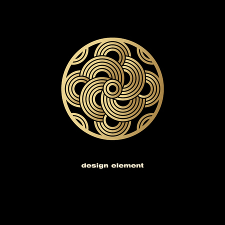 linearity: Vector design element. Template for creating  icon, symbol, emblem, monogram frame. Linear trend style. Illustration gold pattern on black background. Concept of  unusual abstract luxury decor.