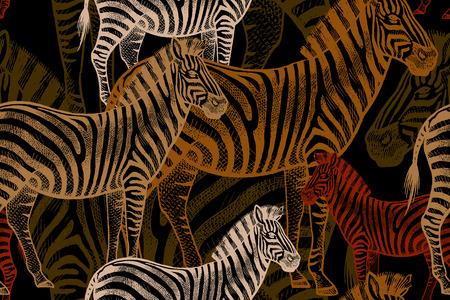 Illustrazione con animali africani. Zebra colorata su uno sfondo nero. Modello per creare tessuto, carta da parati, carta, tessuti, tende, vestiti estivi disegno nello stile di Safari. Archivio Fotografico - 63424141