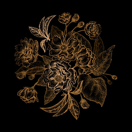 embossing: Chinese plum flower bouquet. The card vintage style. Gold embossing on a black background.